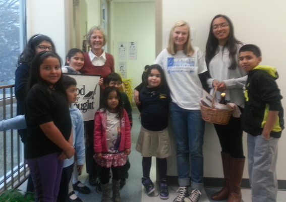 Sister Mary Ann Hartnett, SSND of Food for Thought, Inc., with students